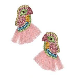 Light Pink Parrot Bird Tassel Summer Drop Earrings